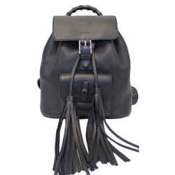 Gucci Bamboo Pebbled Leather Backpack Bag Black
