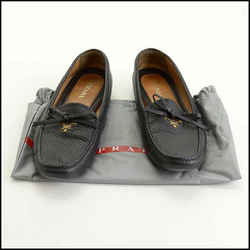 Rdc11384 Authentic Prada Black Leather Driving Moccasin Loafers Size 41