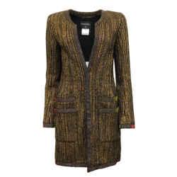Chanel Gold / Black Open Front Metallic Tweed Blazer