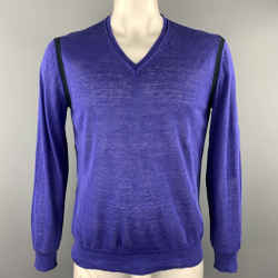 Ps By Paul Smith Size L Purple Linen Black Trim Pullover