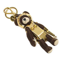 Vintage Authentic Prada Black  with Silver  Fabric Orsy Bear Key Chain Italy