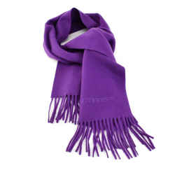 "Givenchy: Deep Violet, Logo 100% Wool Long Scarf 56"" X 12"" (nq)"