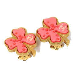 Vintage Authentic Chanel Pink  Metal Clover Flower Earrings France w/ Box