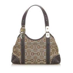 Vintage Authentic Gucci Brown Beige Canvas Fabric Horsebit Shoulder Bag Italy