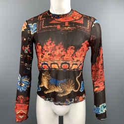 Just Cavalli Size M Brown & Orange Print Polyamide Crew-neck Pullover