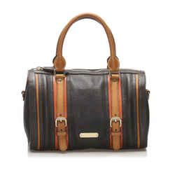 Vintage Authentic Burberry Black Calf Leather Satchel United Kingdom w/ Dust Bag