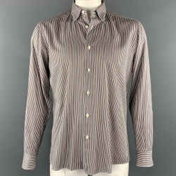 ERMENEGILDO ZEGNA Size L Grey & Brown Stripe Cotton Button Up Long Sleeve Shirt