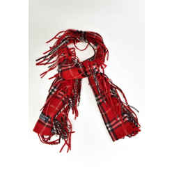 "Burberry London: Red, ""nova Check"" 100% Cashmere Long Scarf 56"" X 7"" (my)"