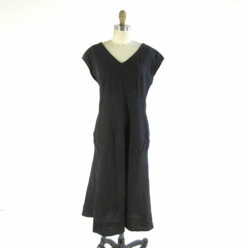 M Cut Loose Anthropologie Black Linen Cap Sleeve Dress W Leprix