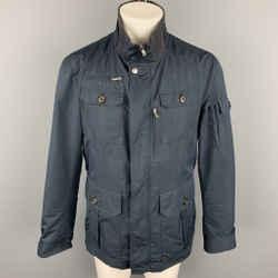BRUNELLO CUCINELLI Size M Navy Nylon Zip & Buttons Jacket