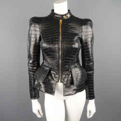 "Tom Ford Size 4 Black Alligator Embossed ""scuba"" Peplum Leather Moto Jacket"