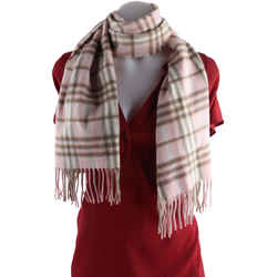 Burberry Pink Nova Check Plaid Cashmere