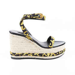 Versace Baroque Espadrille Wedge Sandals SZ 40