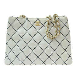 Auth Chanel Wild Stitch Chain Tote Bag White 6s Leather