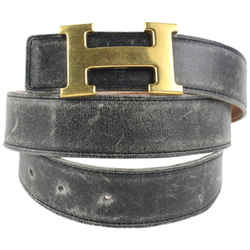 Hermes 32mm Reversible H Logo Belt Kit Black x Gold 44her422