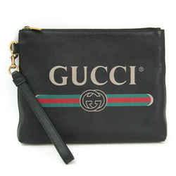 Gucci GUCCI Logo 572770 Unisex Leather Clutch Bag Black,Green,Red BF503986