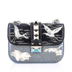 Valentino Lock Small Embroidered Leather Shoulder Bag, Black Pattern
