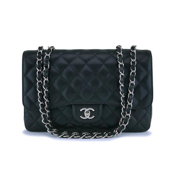 Chanel Black Caviar Jumbo Classic Flap Bag SHW