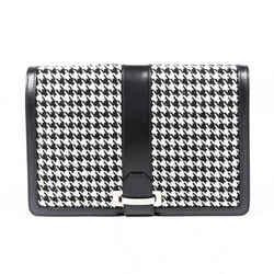 Salvatore Ferragamo Bag Houndstooth Black White Wool Leather Clutch