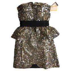 Fendi Womens Dress/ Woven Fabric And Silver Pailette Size Euro 40 (us Size 4)