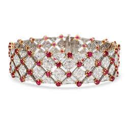 Vintage Tiffany Diamond & Ruby Bracelet in 18K Yellow Gold/Platinum 10.82 CTW