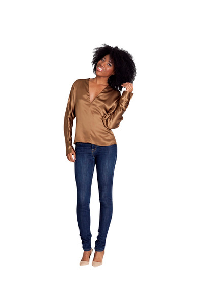 New Ralph Lauren Gold Hester Silk Charmeuse Blouse