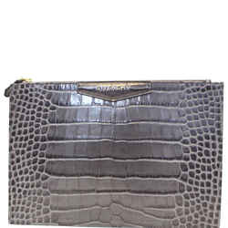 Givenchy Medium Antigona Croc Embossed Leather Pouch Grey