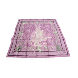 Authentic Hermes 100% Silk Scarf Pani la Shar Pawnee Pink Oliver Vintage 54cm Carre