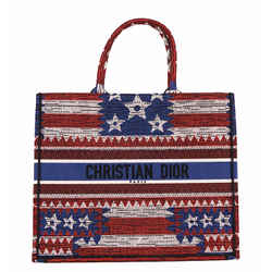 NEW $3050 CHRISTIAN DIOR American FLAG Embroidered Canvas LARGE BOOK TOTE BAG