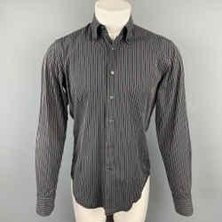 VALENTINO Slim Fit Size M Black Stripe Cotton Button Down Long Sleeve Shirt