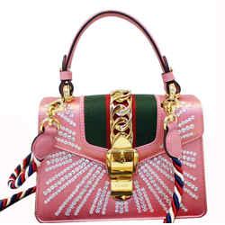 Gucci Mini Sylvie Satin Crystal Shoulder Bag Peony