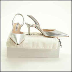 Rdc11431 Authentic Manolo Blahnik Silver Leather Slingback Heels Size 37
