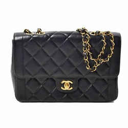 Auth Chanel Lamb Matrasse Single Flap W Chain Tote Bag Gold Metal Fittings Black
