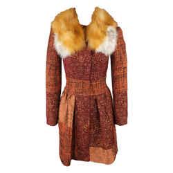Patchwork Wool Fur Coat