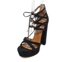 Aquazzura Black Suede Platform Heels 37.5