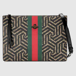 NEW $1290 GUCCI Black CALEIDO Web GOLD BEE LOGO GG Supreme Messenger 2-WAY BAG