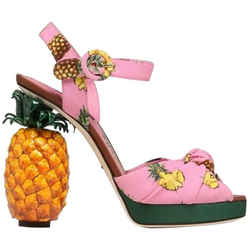 Dolce & Gabbana Keira Pineapple Cady Sandals Pink 8 Authenticity Guaranteed