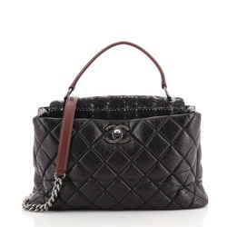 Portobello Top Handle Bag Quilted Aged Calfskin and Tweed Large