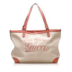 Beige Gucci Craft Canvas Tote Bag