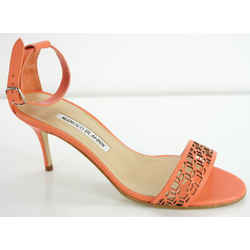 Manolo Blahnik Coral Leather Maurila Ankle Chaos Cuff Sandals Size 36.5 Nib $815