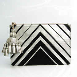 Anya Hindmarch Fringe Women's Leather Clutch Bag Black,Silver BF527034