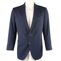 Armani Collezioni 44 Navy Stripe Textured Notch Lapel 2 Button Sport Coat