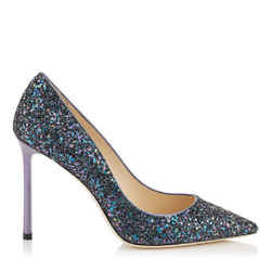 Jimmy Choo Purple Glitter Romy 100 Pumps