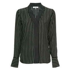 Frame Black / White Striped Dot Notch Collar Blouse