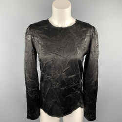 MAISON MARTIN MARGIELA Size 6 Black Wrinkled Acetate / Viscose Blouse
