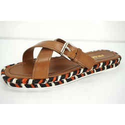 Prada Crisscross Buckle Espadrille Slide Sandals Sz 40 10 Logo New Brown $620
