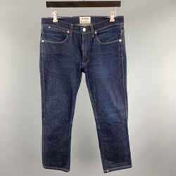 Acne Studios Size 31 X 32 Indigo Solid Cotton / Polyurethane Zip Fly Jeans