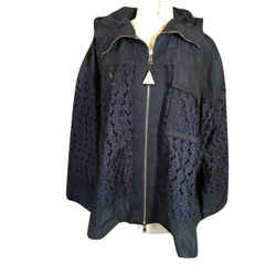 Moncler Size M/l Navy Blue Polyester Lace Swing Jacket Nwt 2400-111-12719