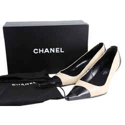 Chanel Pointed Toe Kitten Heels Pumps Tan/Black Size 6.5 Authenticity Guaranteed