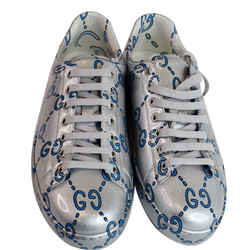 GUCCI  Miro Rubber Wax Mens New Ace Ghost Sneakers Silver US 10